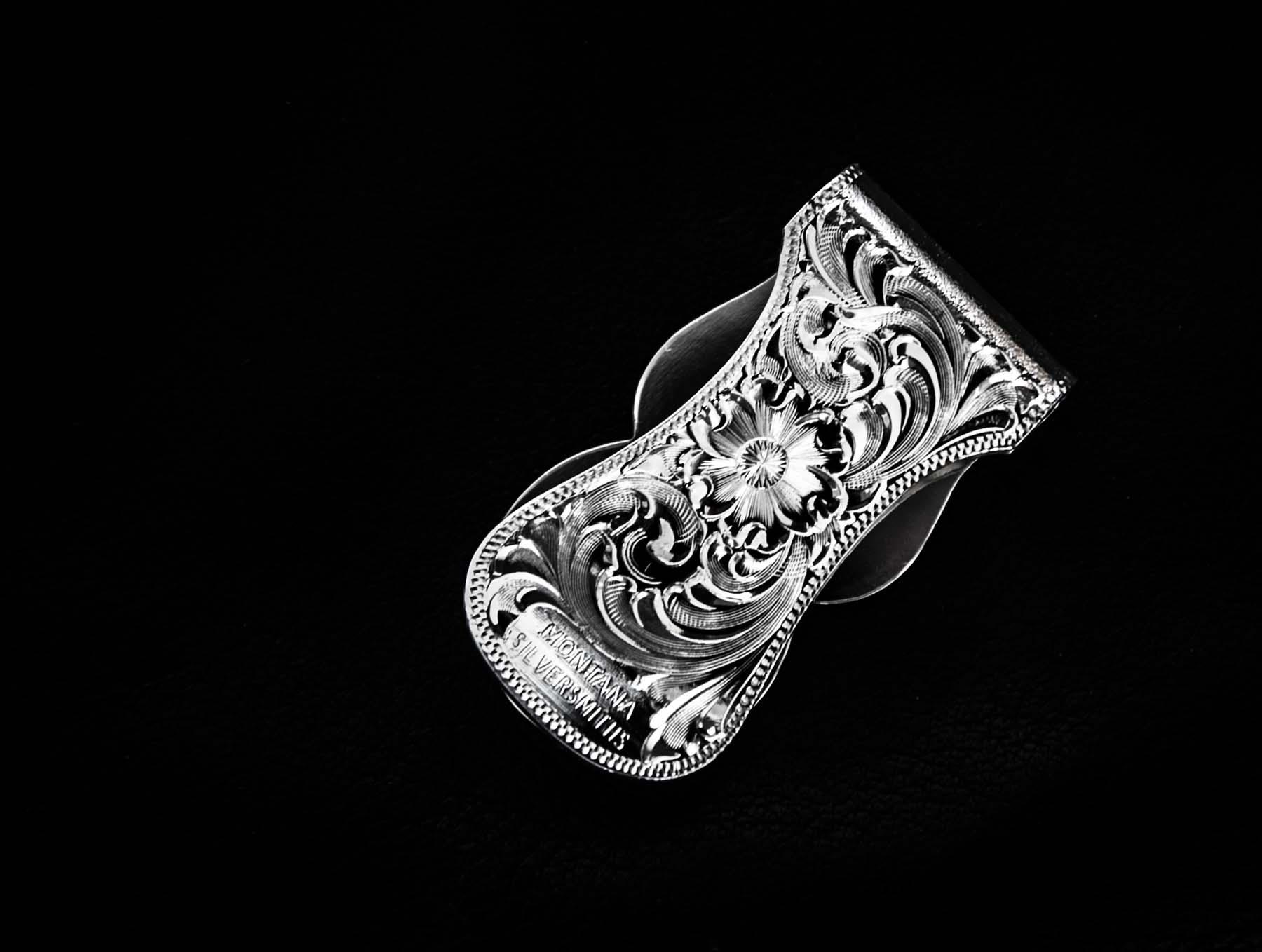 画像2: モンタナシルバースミス マネークリップ シルバー エングレーブ/Montana Silversmiths Fully Engraved Money Clip