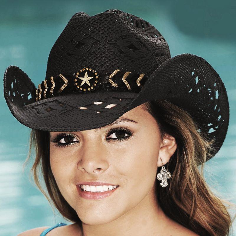 画像1: ブルハイド ウエスタン ストローハット ノーティガール(スター・ブラック)/Bullhide Western Straw Hat Naughty Girl(Black)