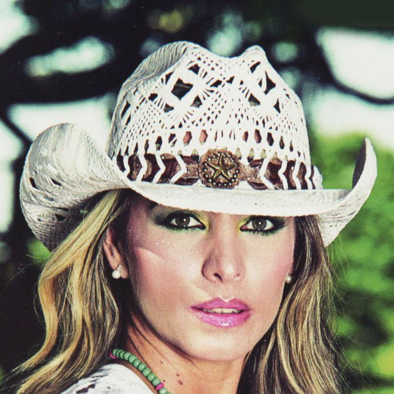 画像1: ブルハイド ウエスタン ストローハット ノーティガール(スター・ホワイト)/Bullhide Western Straw Hat Naughty Girl(White)
