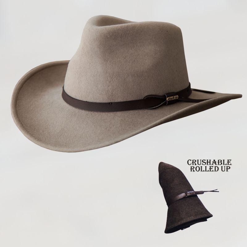 画像1: ブルハイド クラッシャブル ロールアップ プレミアムウール アウトドアハット(サンド)/Bullhide Outland Crashable Rolled Up Premium Wool Hat(Sand)