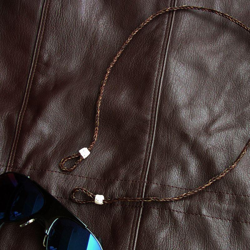 画像1: メガネ用ストラップ ホースヘアー(ブラウン)/Eyeglass Holder Horse Hair(Brown)