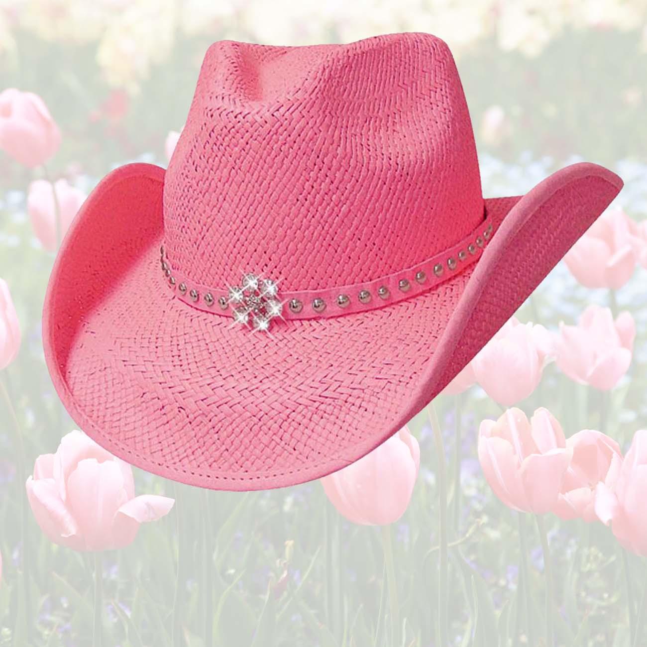 画像1: ラインストーンフラワー&スタッズ ウエスタン ストロー ハット(ピンク)/Western Straw Hat(Pink)