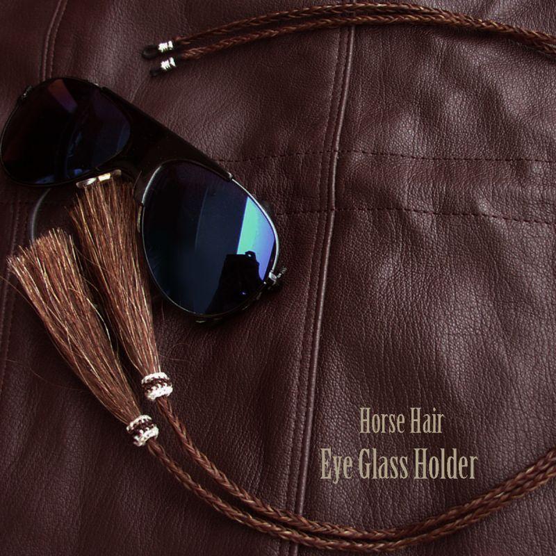 画像1: メガネ用ストラップ ホースヘアー タッセル付(ブラウン)/Eyeglass Holder w/Tassels Horse Hair(Brown)