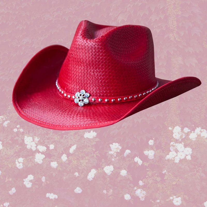 画像1: ラインストーンフラワー&スタッズ ウエスタン ストロー ハット(レッド)/Western Straw Hat(Red)