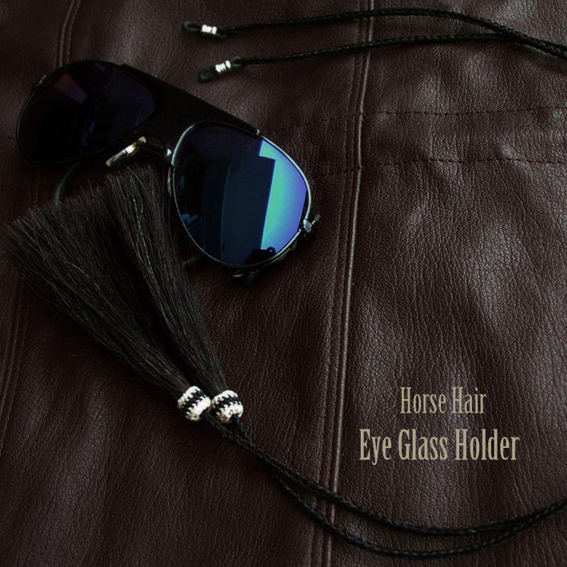 画像1: メガネ用ストラップ ホースヘアー タッセル付(ブラック)/Eyeglass Holder w/Tassels Horse Hair(Black)
