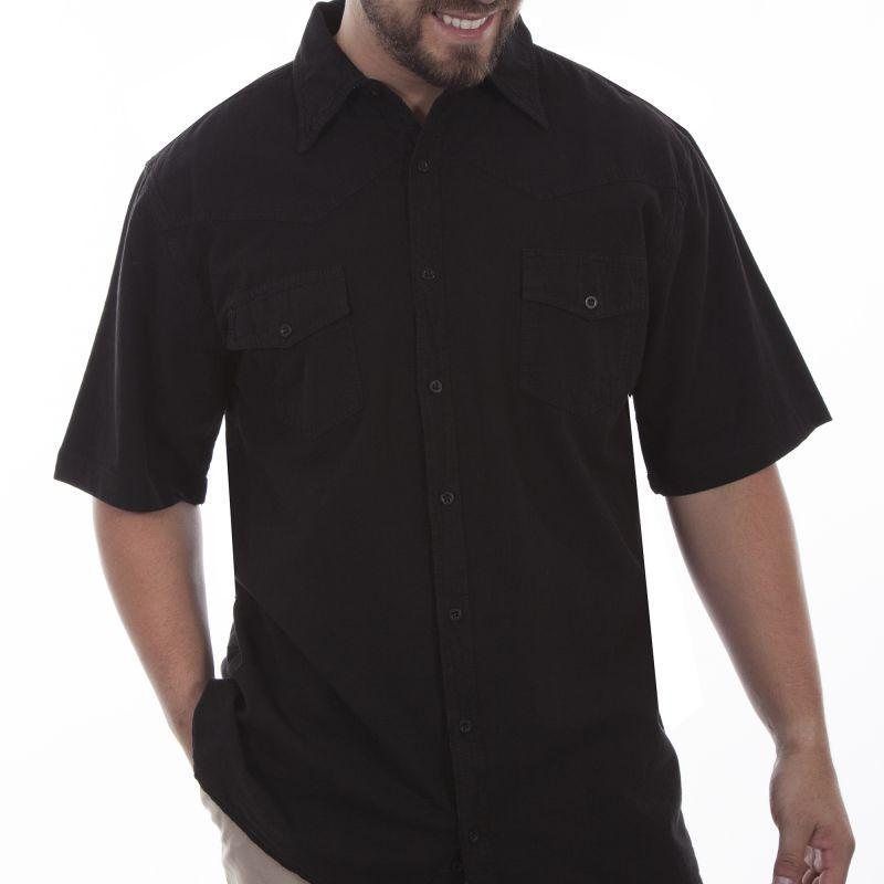 画像1: スカリー ウエスタンヨーク 半袖シャツ(ブラック無地)/Scully Short Sleeve Western York 2Pocket Shirt(Black)