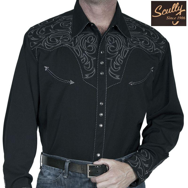 画像1: スカリー ウエスタン 刺繍 シャツ(長袖/ブラック・スクロールチャコール)/Scully Long Sleeve Embroidered Western Shirt(Men's)