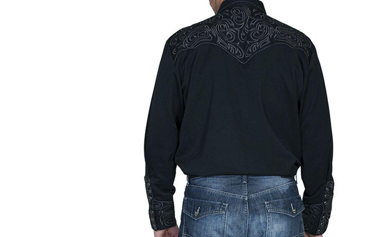 画像2: スカリー ウエスタン 刺繍 シャツ(長袖/ブラック・スクロールチャコール)/Scully Long Sleeve Embroidered Western Shirt(Men's)