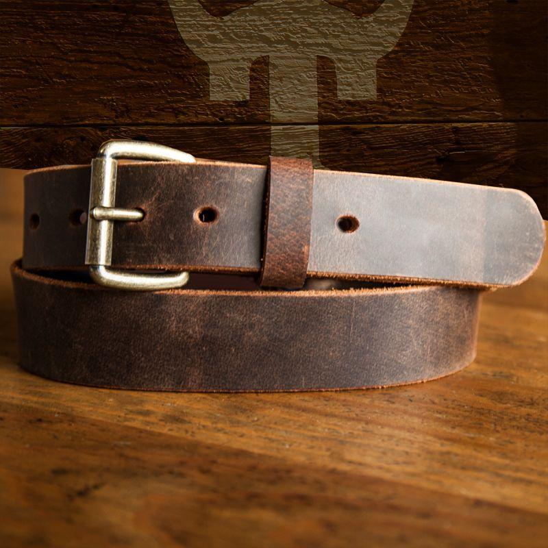 画像1: バッファロー・アメリカンバイソン レザーベルト(ブラウン)/Leather Belt(Brown)