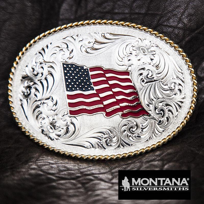画像1: モンタナシルバースミス ベルト バックル U.Sフラッグ/Montana Silversmiths Belt Buckle