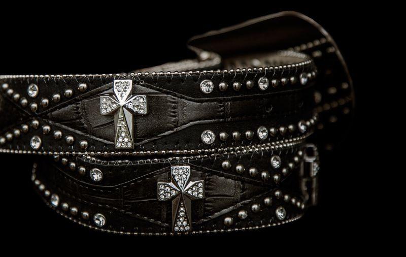 画像2: ラインストーン&スタッズ スリーピース ウエスタン レザーベルト(ブラック・シルバークロス)/Western Leather Belt