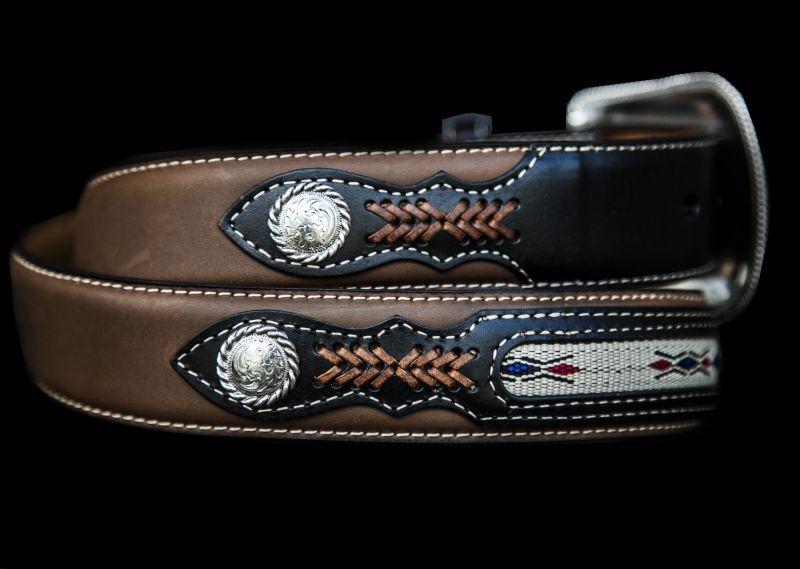 画像2: ウエスタン レザーベルト(コンチョ&リボン ブラウン・ブラック)/Western Leather Belt