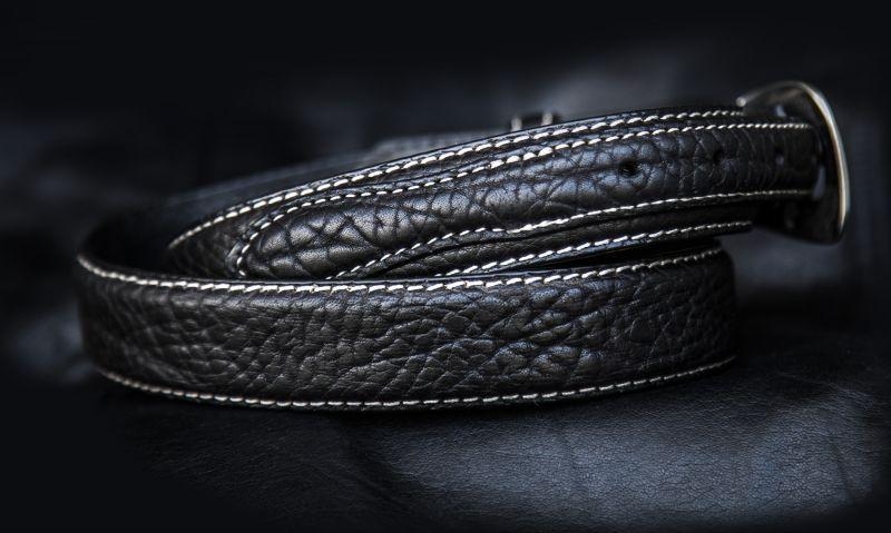 画像2: バッファローレザー 4ピース レンジャーベルト(ブラック)/American Bison Leather Belt(Black)