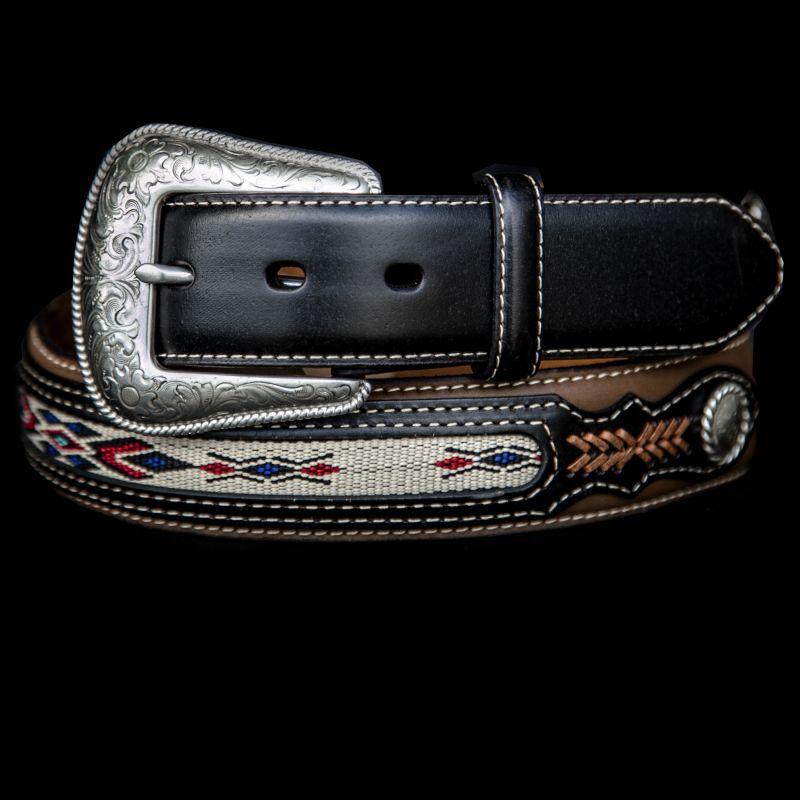 画像1: ウエスタン レザーベルト(コンチョ&リボン ブラウン・ブラック)/Western Leather Belt