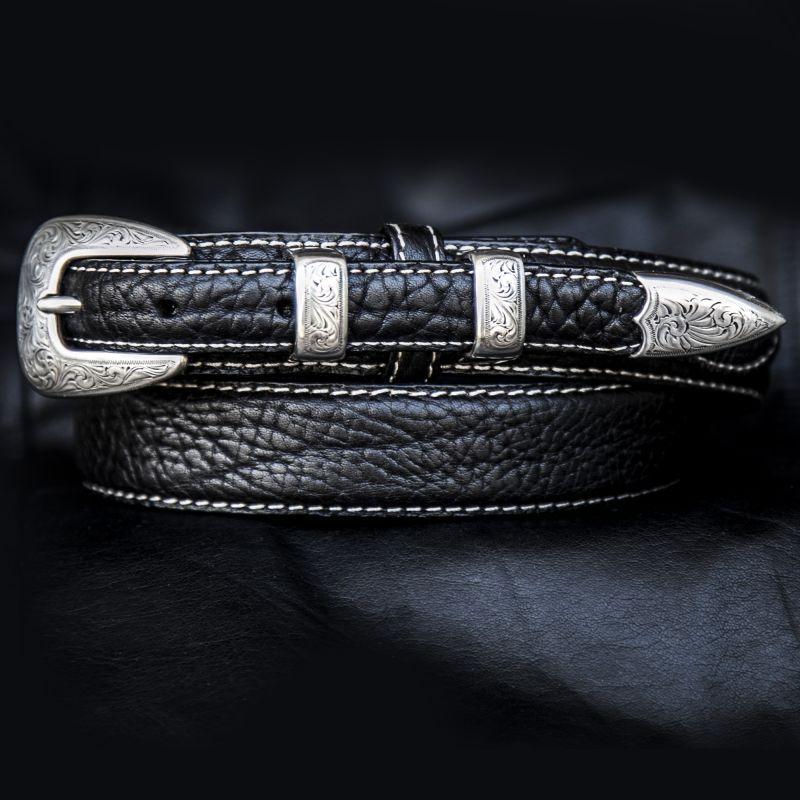 画像1: バッファローレザー 4ピース レンジャーベルト(ブラック)/American Bison Leather Belt(Black)
