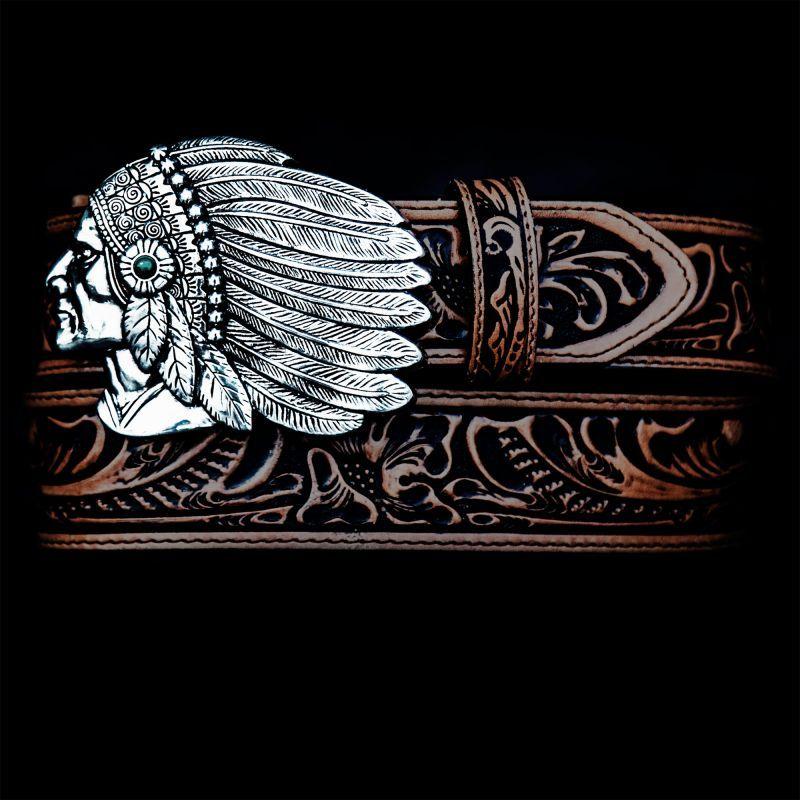 画像2: トニーラマ インディアンチーフ ウエスタン レザーベルト(ブラウン)/Tony Lama Indian Chieftain Western Leather Belt(Brown)