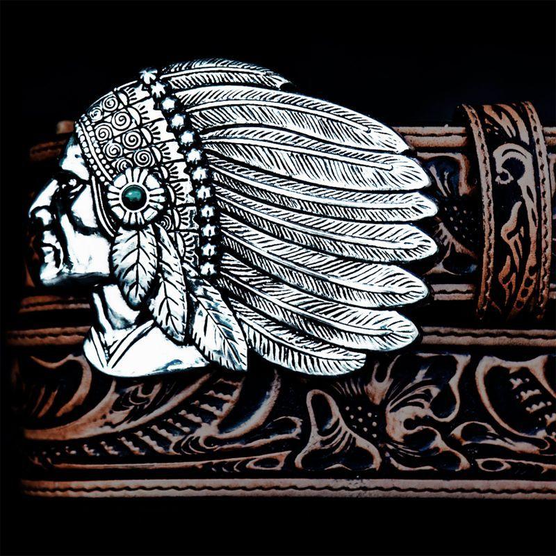 画像1: トニーラマ インディアンチーフ ウエスタン レザーベルト(ブラウン)/Tony Lama Indian Chieftain Western Leather Belt(Brown)