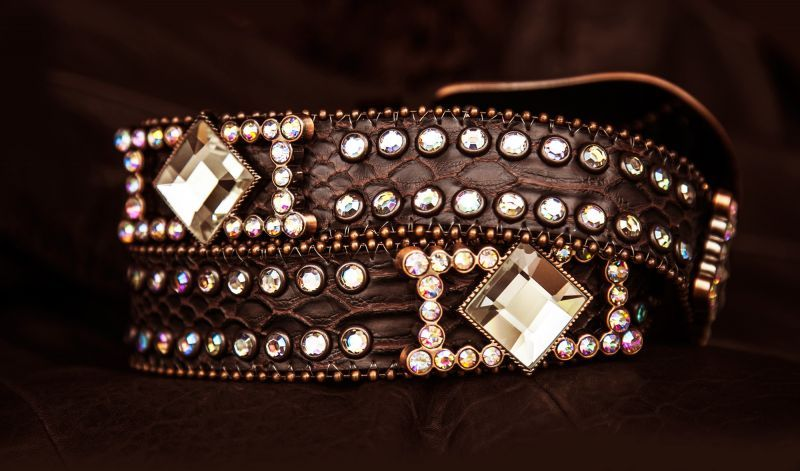 画像2: ラインストーン コンチョ スリーピース  レザーベルト(ブラウン)/Western Leather Belt