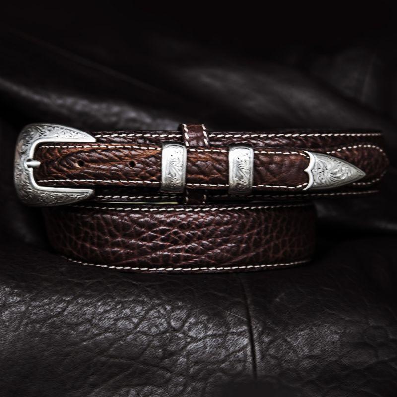 画像1: バッファローレザー 4ピース レンジャーベルト(ブラウン)/American Bison Leather Belt(Brown)