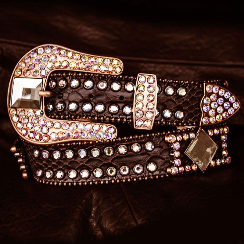 画像1: ラインストーン コンチョ スリーピース  レザーベルト(ブラウン)/Western Leather Belt