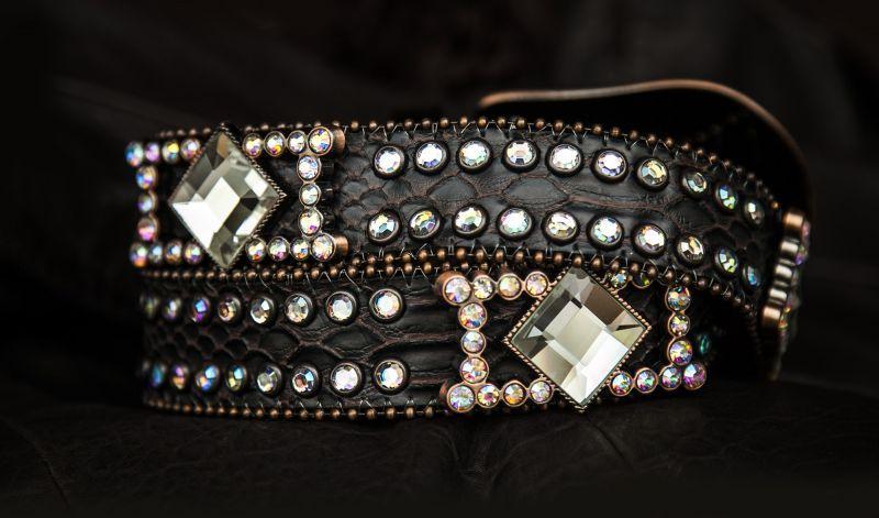 画像2: ラインストーン コンチョ スリーピース  レザーベルト(ダークブラウン)/Western Leather Belt