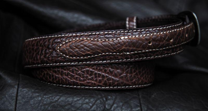 画像2: バッファローレザー 4ピース レンジャーベルト(ブラウン)/American Bison Leather Belt(Brown)