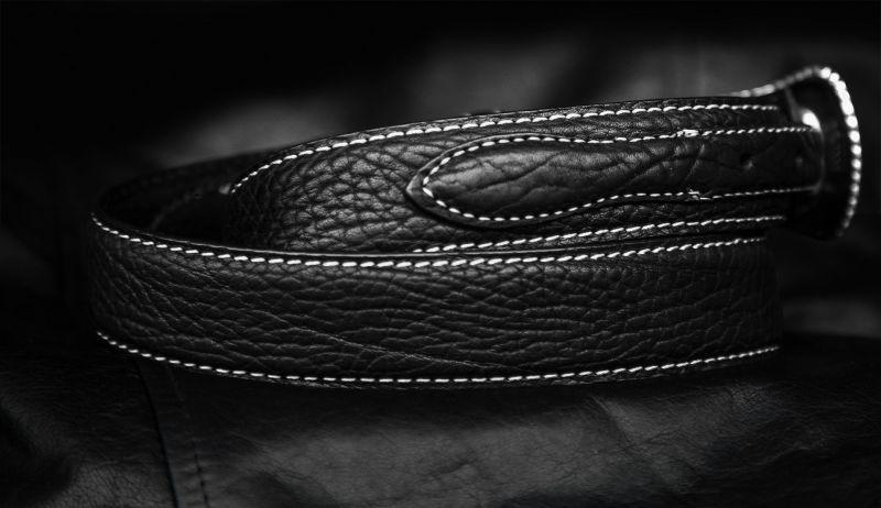 画像2: 4ピース アメリカンバイソン レザー レンジャーベルト(ブラック)/American Bison Leather Belt(Black)