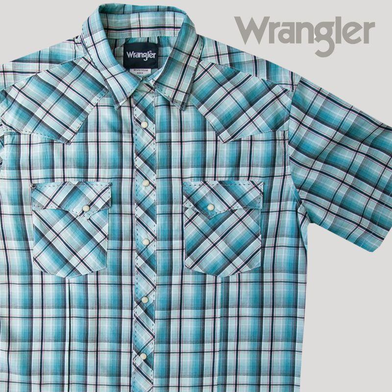 画像1: ラングラー 半袖 ウエスタンシャツ ターコイズブルーM/Wrangler Short Sleeve  Western Shirt (1)