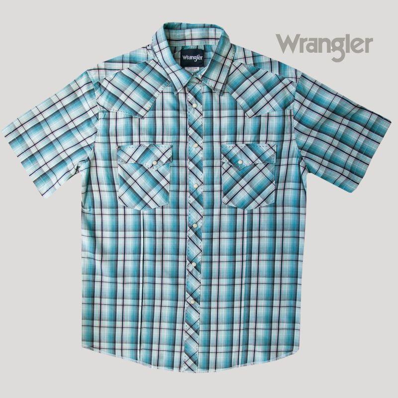 画像2: ラングラー 半袖 ウエスタンシャツ ターコイズブルーM/Wrangler Short Sleeve  Western Shirt