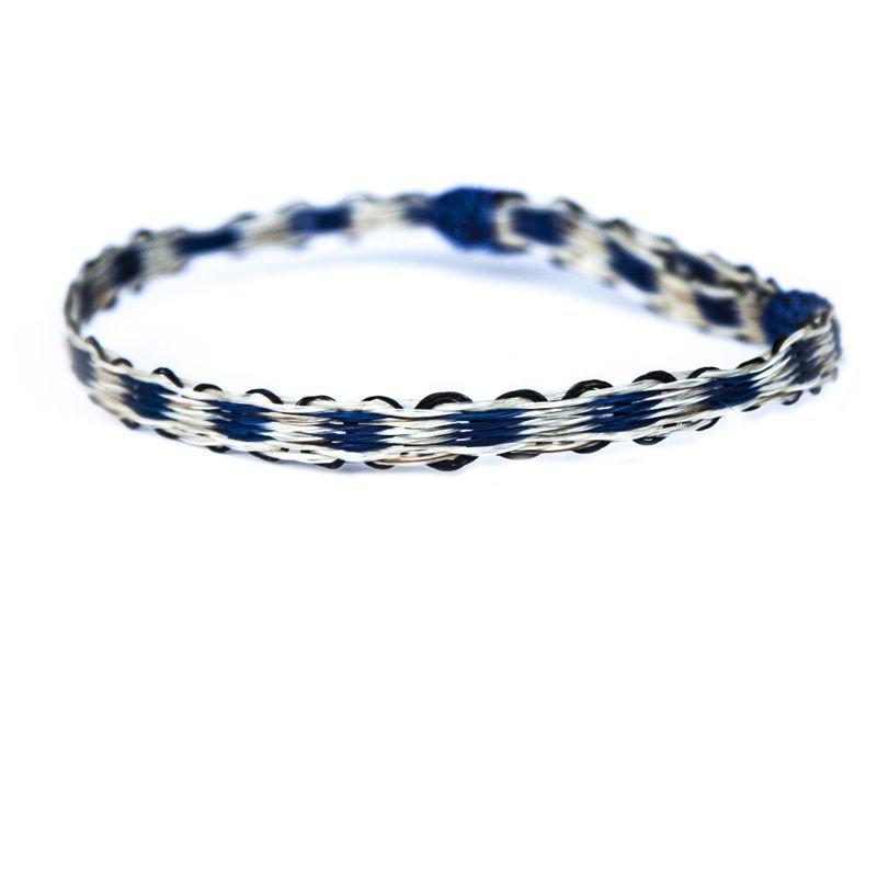 画像1: ホースヘアー ブレスレット(ブルー・ホワイト)/Horse Hair Bracelet