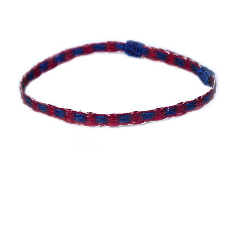 画像1: ホースヘアー ブレスレット(レッド・ブルー)/Horse Hair Bracelet