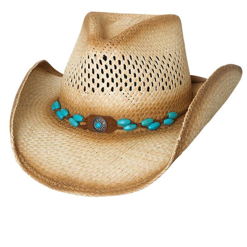 画像1: ハンドウーブン パナマ ストローハット(ナチュラル・ターコイズ)/Genuine Panama Hand Woven Straw Hat (Natural)
