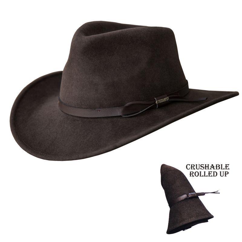画像1: ブルハイド クラッシャブル ロールアップ プレミアムウール アウトドアハット(チョコレート)/Bullhide Outland Crashable Rolled Up Premium Wool Hat(Chocolate) (1)