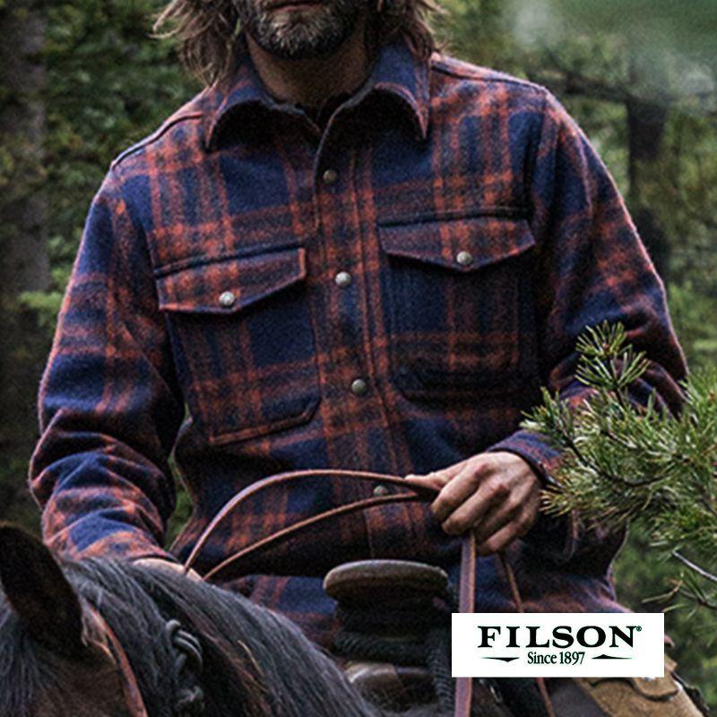 画像1: フィルソン マッキーノ ジャケット(ネイビー・コッパーブラウン)/Filson Mackinaw Jac-Shirt(Navy/Copper Brown)