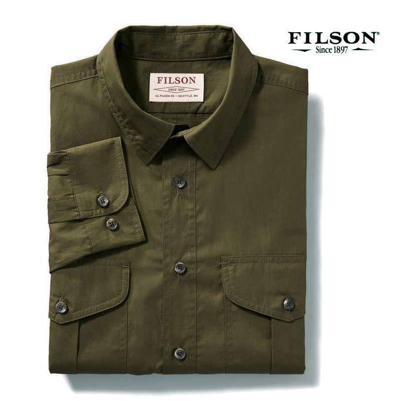 画像2: フィルソン フェザークロス シャツ(長袖・マーシュオリーブ)XS/Filson Longsleeve Feather Cloth Shirt (Marsh Olive)