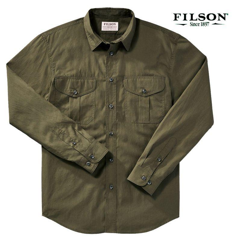 画像1: フィルソン フェザークロス シャツ(長袖・マーシュオリーブ)XS/Filson Longsleeve Feather Cloth Shirt (Marsh Olive)