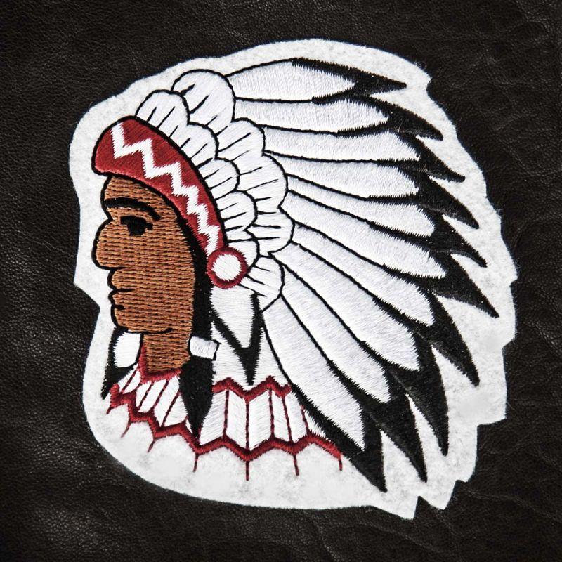 画像1: ワッペン インディアン酋長(シルバー・ブラック・レッド・ホワイト)/Patch