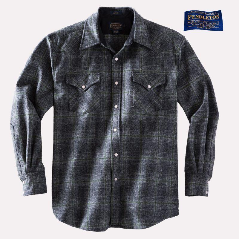 画像1: ペンドルトン ウエスタンシャツ(オックスフォードグレー・セージ)S/Pendleton Western Shirt