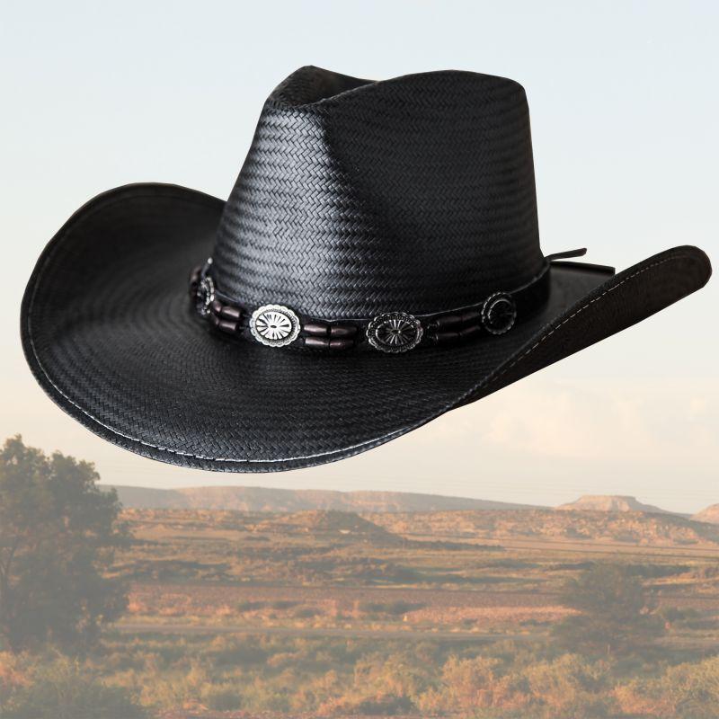 画像1: ブルハイド ウエスタン ストローハット(ブラック ヒルズ)/BULLHIDE Western Straw Hat BLACK HILLS(Black) (1)