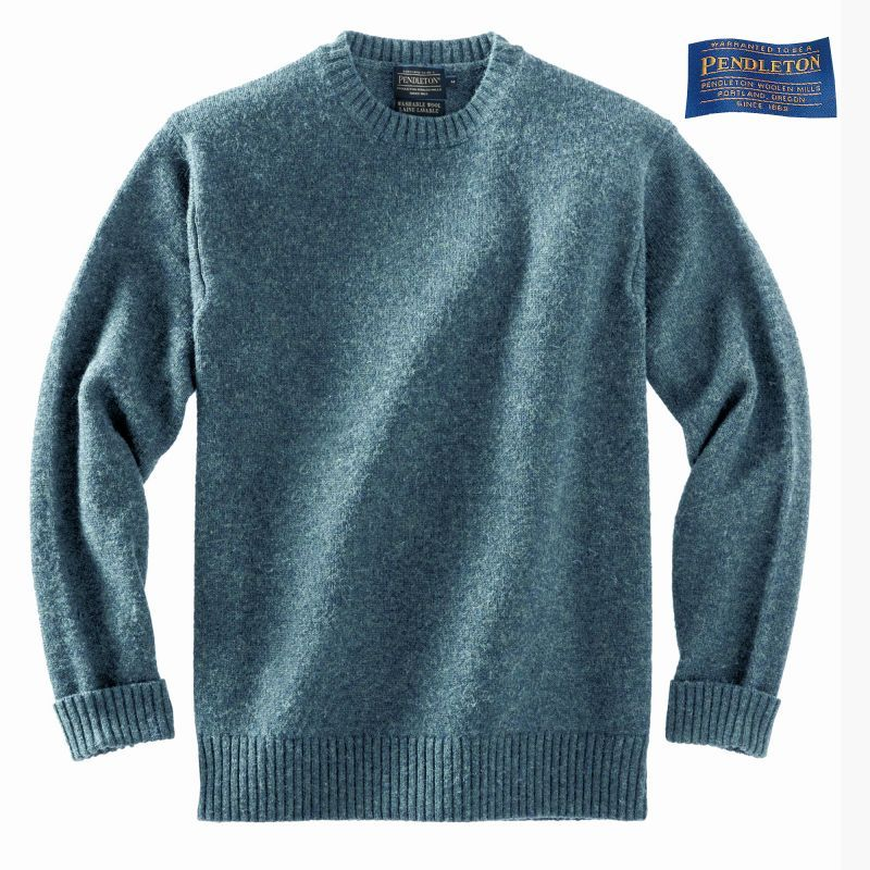 画像1: ペンドルトン シェトランド ウール セーター(スカイティール)S/Pendleton Shetland Wool Sweater Sky Teal