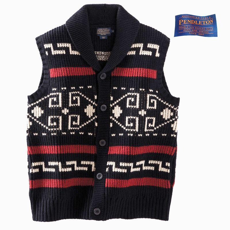 画像1: ペンドルトン ウール ベスト(ブラック・クリーム)/Pendleton Westerley Sweater Vest(Black/Cream)