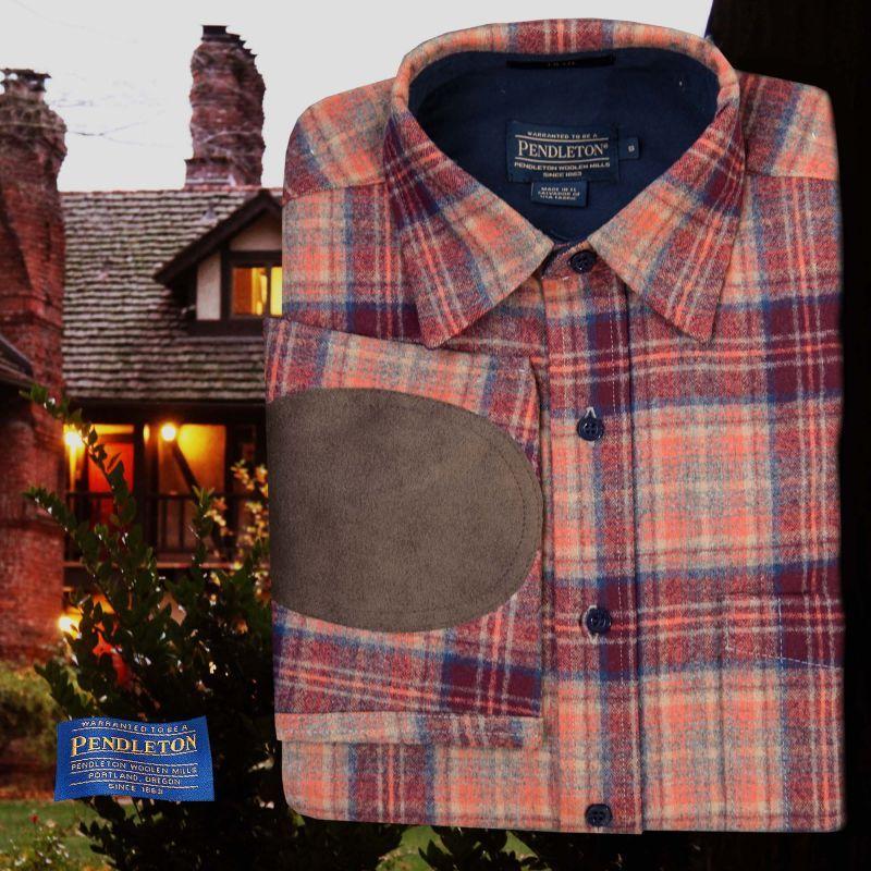 画像1: ペンドルトン ウール シャツ・エルボーパッチ トレイルシャツ サンセットプラッドS/Pendleton Elbow-patch Trail Shirt (Sunset Plaid)