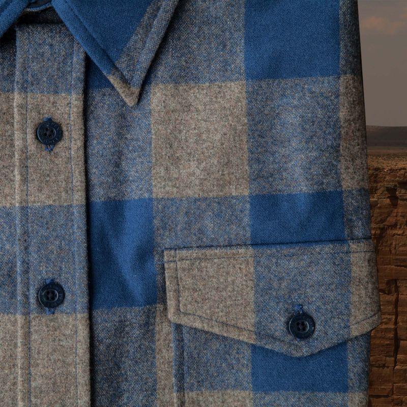 画像2: ペンドルトン ピュアーヴァ-ジンウール ガイドシャツ(ブルー・トープチェック)S/Pendleton Guide Shirt (Blue/Taupe Check)