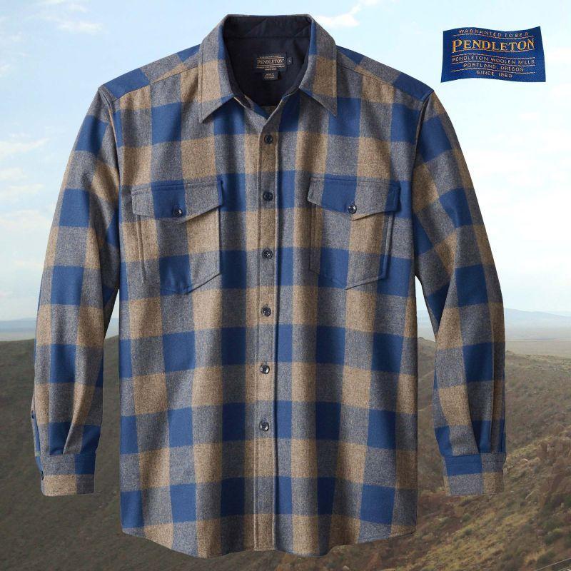 画像1: ペンドルトン ピュアーヴァ-ジンウール ガイドシャツ(ブルー・トープチェック)S/Pendleton Guide Shirt (Blue/Taupe Check)