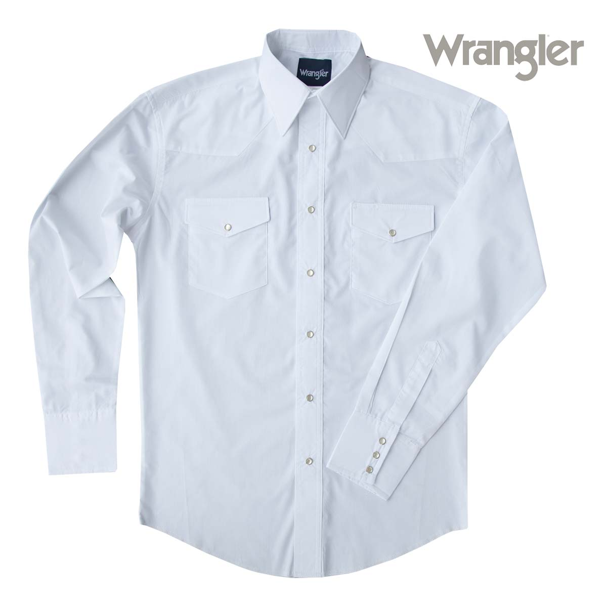 画像1: ラングラー ウエスタンシャツ ホワイト無地(長袖)/Wrangler Long Sleeve Western Shirt(White)