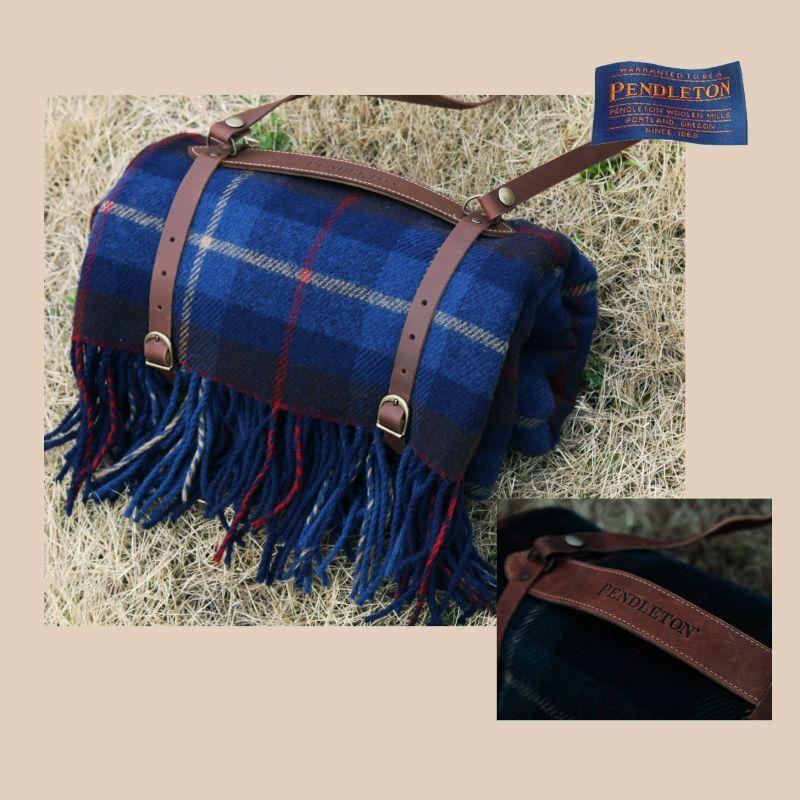 画像1: ペンドルトン ブランケット レザー キャリア(ブラウン)・ひざ掛けモーターローブ用15cm/Leather Carrier