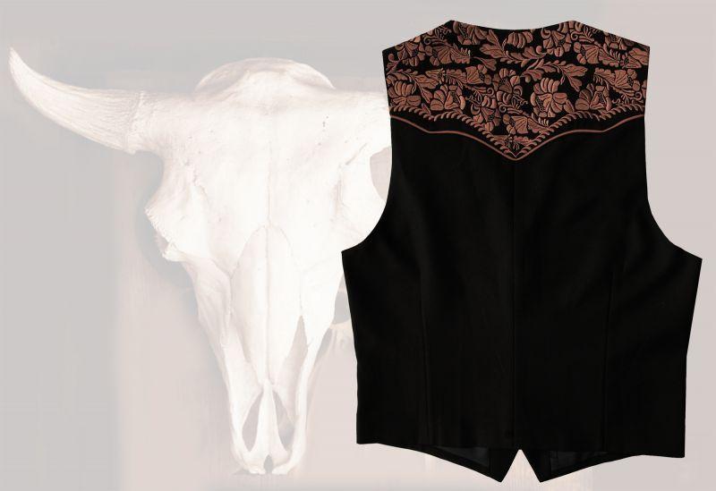 画像3: スカリー ウエスタンヨーク フローラル刺繍 ベスト(ブラック)/Scully Floral Embroidery Vest (Black)
