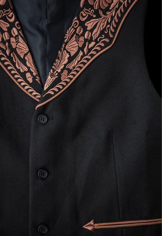 画像2: スカリー ウエスタンヨーク フローラル刺繍 ベスト(ブラック)/Scully Floral Embroidery Vest (Black)