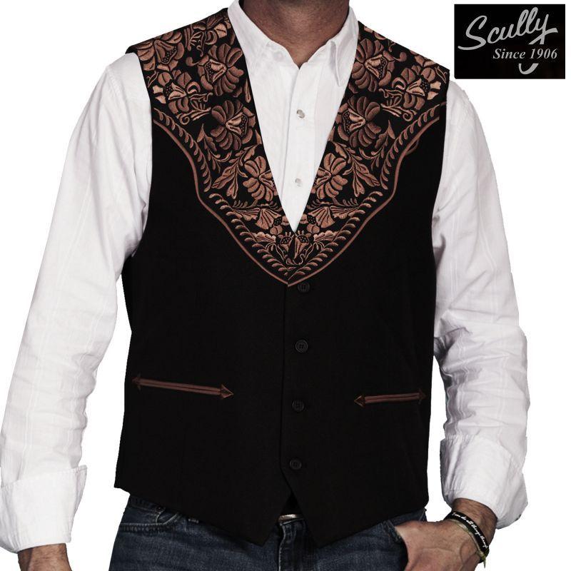 画像1: スカリー ウエスタンヨーク フローラル刺繍 ベスト(ブラック)/Scully Floral Embroidery Vest (Black)