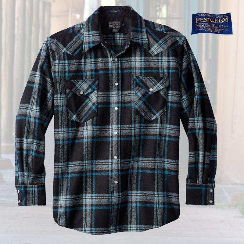 画像1: ペンドルトン ウエスタンシャツ(ブラック・ターコイズプラッド)/Pendleton Western Shirt